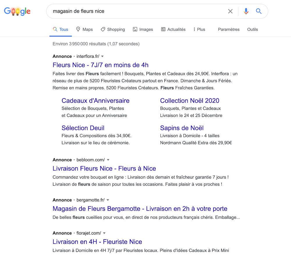 capture écran exemple google adwords