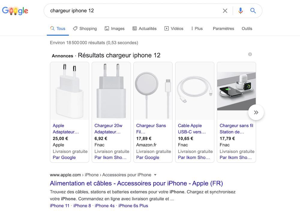exemple capture écran google shopping