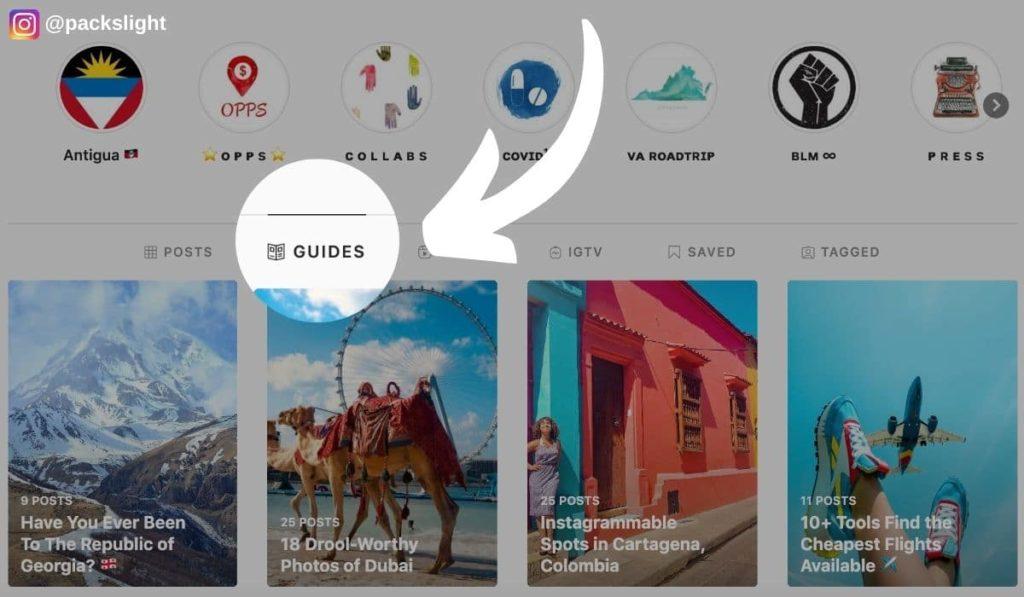 Fonctionnalité Guides sur instagram