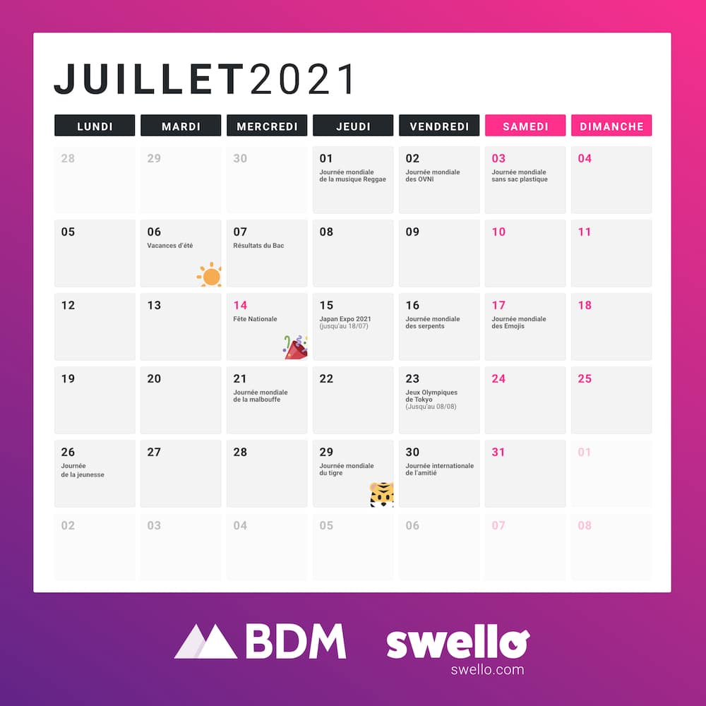 calendrier marketing social media marronnier