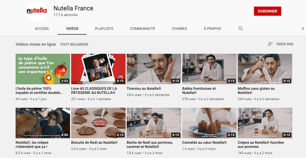Chaine Youtube de Nutella France