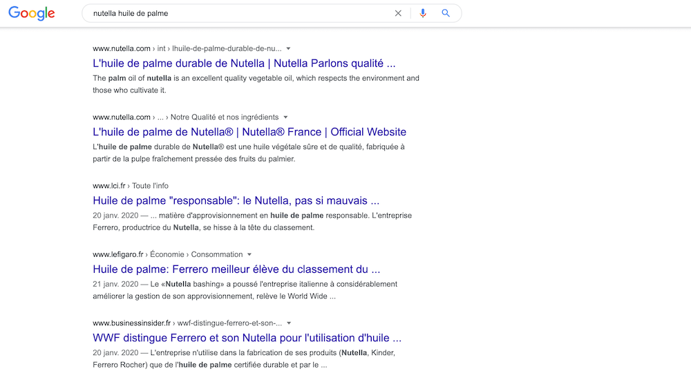e reputation google nutella huile palme