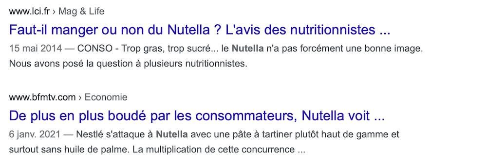 e-reputation nutella google france