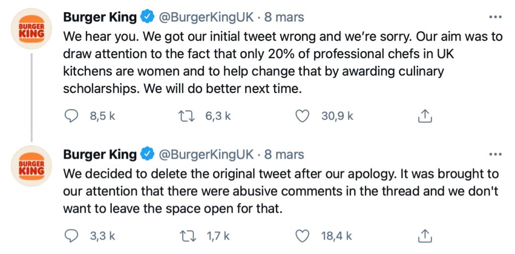 bad buzz burger king mars 2021 women kitchen