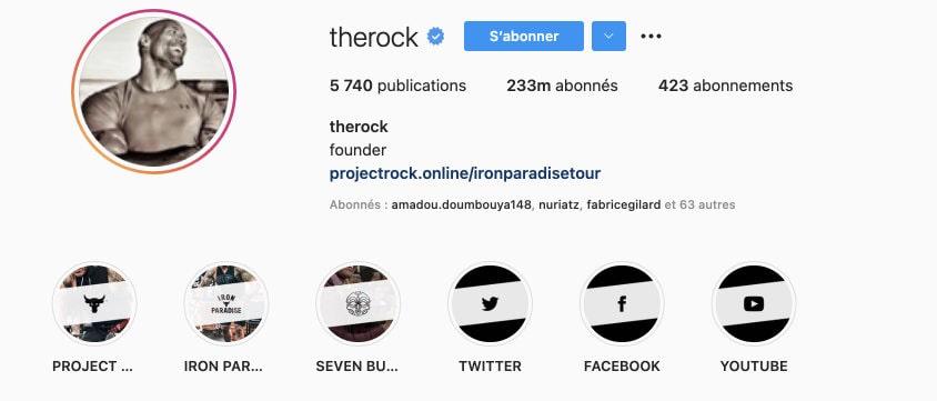 bio compte instagram rock dwayne johnson