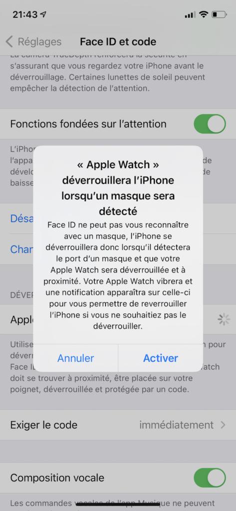 comment deverrouiller iphone avec masque