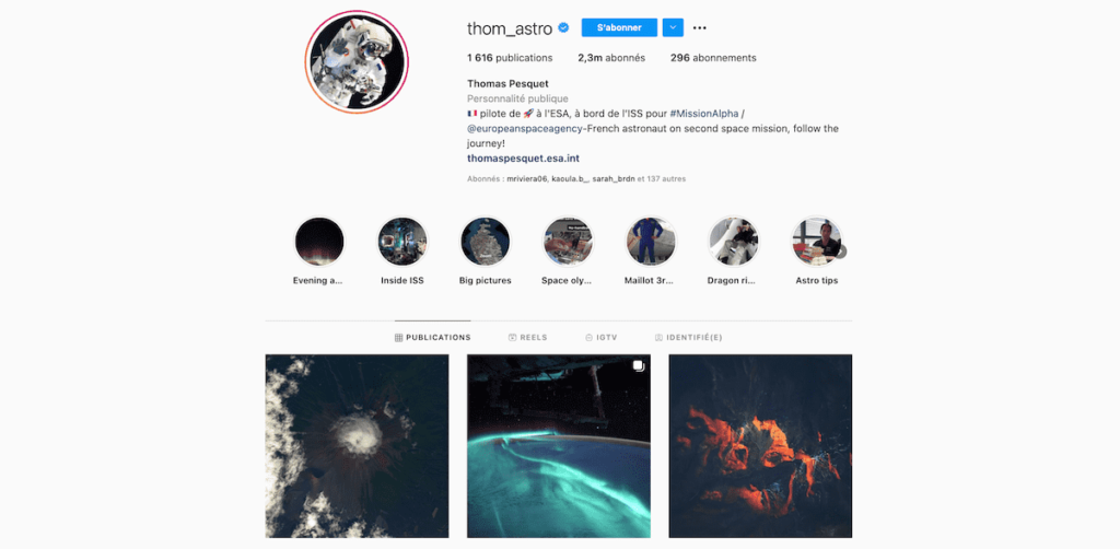 compte instagram officiel thomas pesquet thom astro