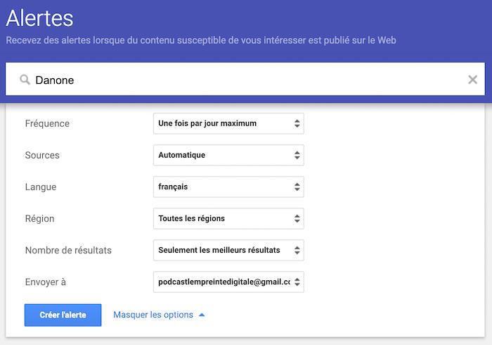Comment créer une alerte Google
